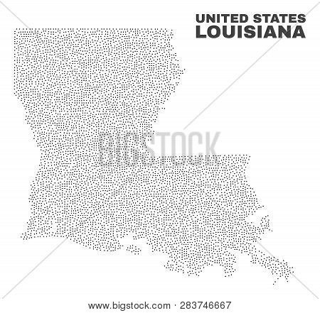 Louisiana State Map Designed With Tiny Points. Vector Abstraction In Black Color Is Isolated On A Wh