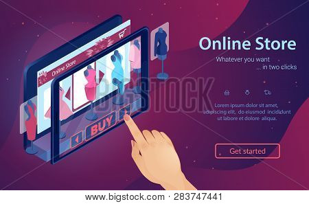 Online Fashion Store. Virtual Shopping At Night. Woman Buys Clothes Online. Hand Chooses Dress On Sc