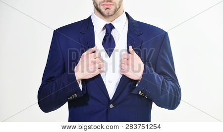 Stylish Details Business Appearance. Business Style Dress Code. Male Hands Adjusting Business Suit C