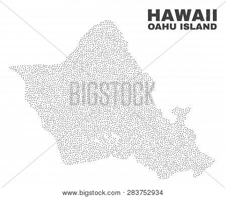 Oahu Island Map Designed With Little Dots. Vector Abstraction In Black Color Is Isolated On A White
