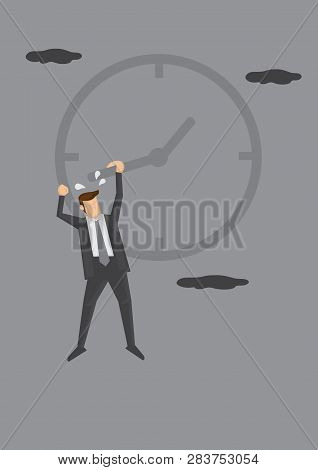 Man In Business Suit Hanging Dangerously To The Hand On The Face Of A Clock. Humorous Conceptual Vec