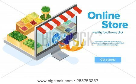 Online Food Ordering. Woman Buys With Computer. Small Customer Presses Cart Button. Healthy Food. On