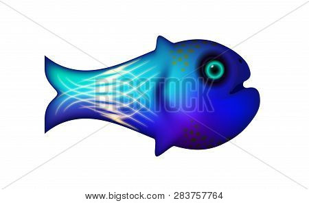 Blue Little Fish. Vector Illustration Of Sea And Animal Symbol. Marine Stock. Cartoon Funny Life Opt