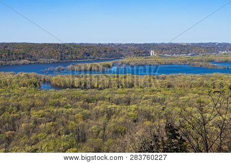 Confluence Of Mississippi And Wisconsin Rivers Viewed From Atop Bluffs Of Wyalusing State Park In Dr
