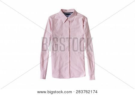 Pink Shirt Flat Lay. Fashion Concept. Isolate On White Background