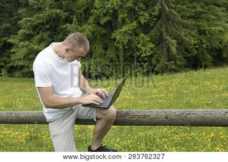 Fascinated Man Sitting On A Wooden Fence And Works Behind The Laptop Near The Fields And Pine Forest