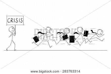 Cartoon Stick Figure Conceptual Drawing Of Group Of Businessmen In Suits And Briefcases Running In P