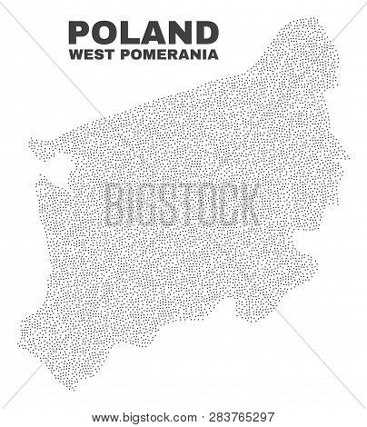 West Pomeranian Voivodeship Map Designed With Tiny Points. Vector Abstraction In Black Color Is Isol