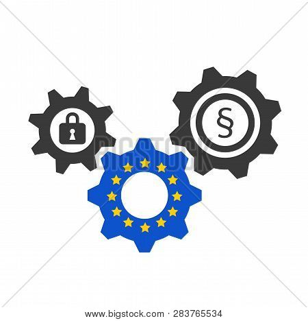Eu Dsgvo Blue And Grey Gears With Lock And Paragraph Vector Illustration