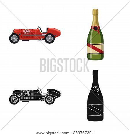Isolated Object Of Car And Rally Logo. Set Of Car And Race Stock Symbol For Web.