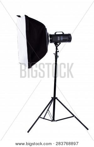 Side View Studio Flash With Clipping Path. Studio Flash With Square Soft Box On Stand. Flashlight An