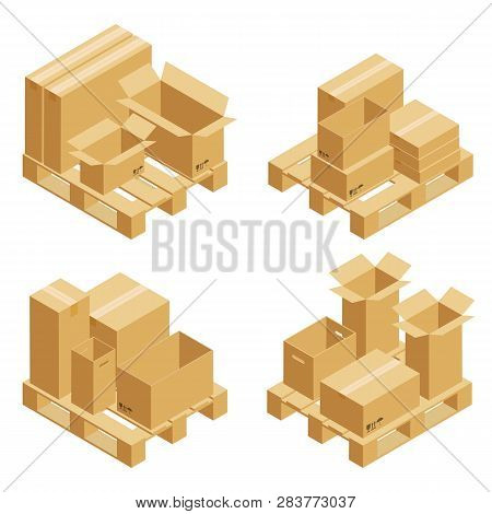 Cardboard Boxes And Wood Pallet Isometric Set Isolated On White Background. Vector Carton Packaging