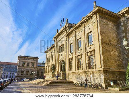 Bergamo, Italy - January 4, 2019. Main Facade Of The Palazzo Della Procura Della Repubblica, Justice