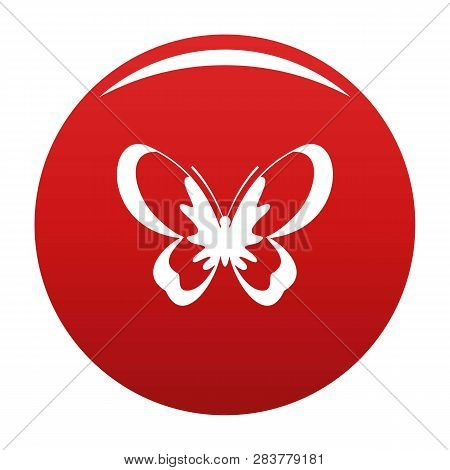 Unknown Butterfly Icon. Simple Illustration Of Unknown Butterfly Vector Icon For Any Design Red