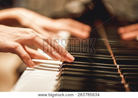 Beautiful Piano Melody...close Up View Of Female Hands Playing On Piano Her Favorite Classical Music