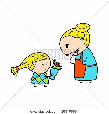 Happy Mother And Daughter Simple Vector Illustration On White Background. Girl Greeting Mother With