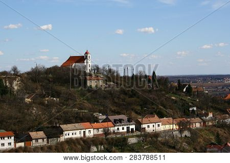 the cityscape with a chapel in Pecs poster