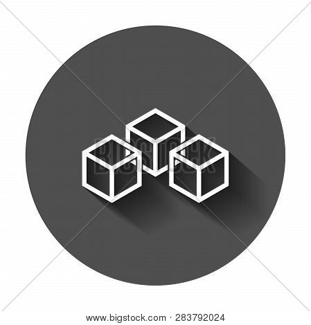 Blockchain Technology Vector Icon In Flat Style. Cryptography Cube Block Illustration With Long Shad