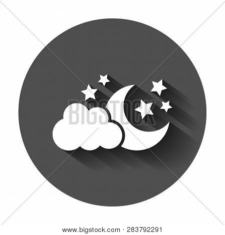 Moon And Stars With Clods Vector Icon In Flat Style. Nighttime Illustration With Long Shadow. Cloud,