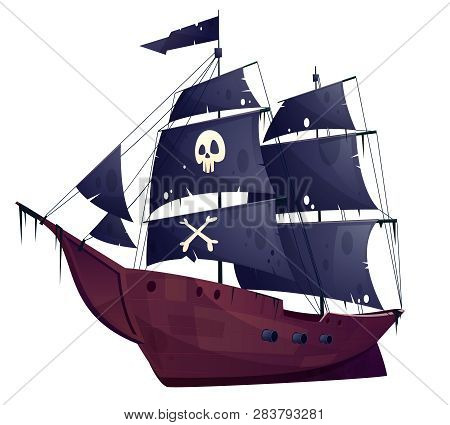 Vector Cartoon Pirate Ship Isolated On White Background. Wooden Boat With Black Sails, Cannons And S