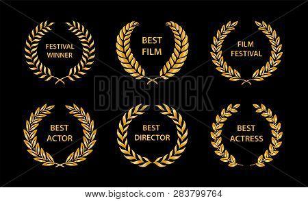 Film Awards. Gold Award Wreaths On Black Background. Vector Illustration.