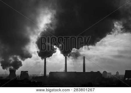 Smog And Pollution Concept And Global Warming Concept, Coal Fired Power Station Power Plant.