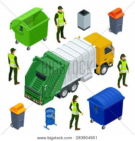 Isometric Garbage Truck Or Recycle Truck In City. Garbage Recycling And Utilization Equipment. City