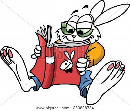 Cartoon Rabbit Reading Playboy Magazine Vector Illustration