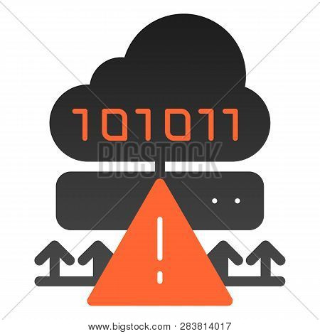 Cloud cyber attack flat icon. Ddos server hack color icons in trendy flat style. Server attack gradient style design, designed for web and app. Eps 10. poster