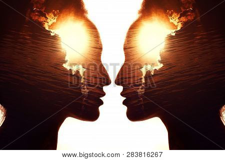 Profile Portrait Of Woman With Sunrise In Her Head. Psychology And Psychotherapy Concept.
