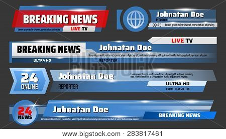 Breaking news and TV screensavers, glass, translucent templates. Vector urgent announcement ticker, global event report, round clock service. Media and broadcast, publication and communication poster
