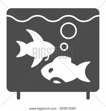 Aquarium Solid Icon. Fish In Aquarium Vector Illustration Isolated On White. Fishbowl Glyph Style De