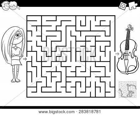 Black And White Cartoon Illustration Of Education Maze Or Labyrinth Activity Game For Children With