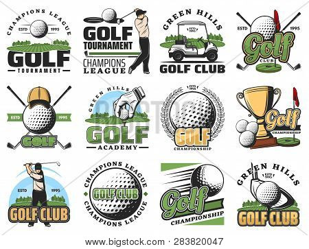Golf Sport Game Symbols And Equipment Icons. Vector Golfer And Ball, Stick, Cart, Hole And Golf Cour
