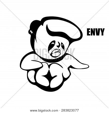 Envy. Hand Drawn Vector Monochrome Outline Cartoon Character Illustration With White Background