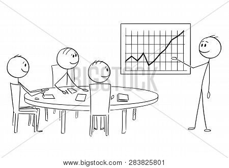 Cartoon Stick Figure Drawing Conceptual Illustration Of Businessman Presenting Graph With Good Or Gr