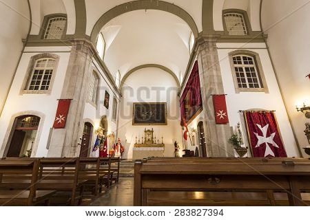 Lisbon - July 25, 2018:  View Of The Main Chapel Of The Church Of Santa Luzia And St Bras, Belonging