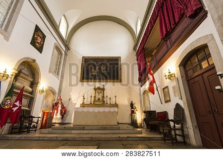 Lisbon - July 25, 2018:  Detail Of The Main Chapel Of The Church Of Santa Luzia And St Bras, Belongi