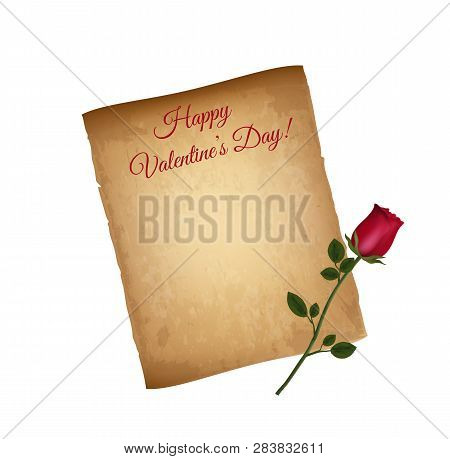 Old Grungy Paper And Red Elegant Rose Isolated On White Background. Happy Valentines Day Greeting Ca