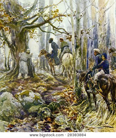 Russian partisans in the woods -  illustration by artist A.P. Apsit from book