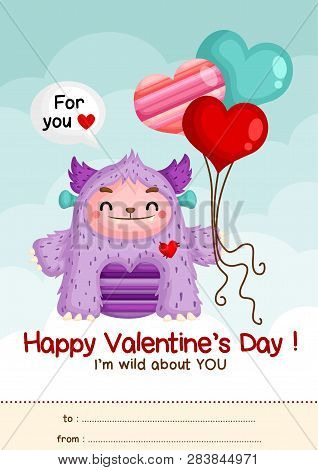 A Card Of Cute Little Purple Monster Holding Balloons To Celebrate Valentine Day