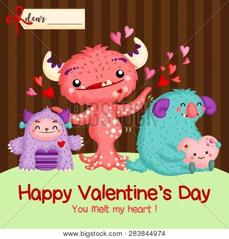 A Vector Of Cute Monster Full Of Love For Valentine Card Celebration