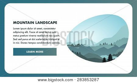 Tourism Web Page Flat Design. Ski Resort Website Template. Landing Page Layout With Button, Text Spa
