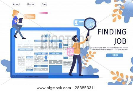 Man Character Finding Job Online Laptop Research. Business Professional Vacancy Presentation For Man