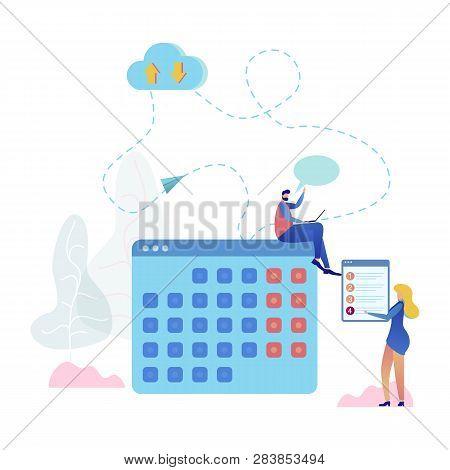 Cloud Service Online Calendar Vector Illustration. Developer With Laptop Sit On Timetable Upload Pro
