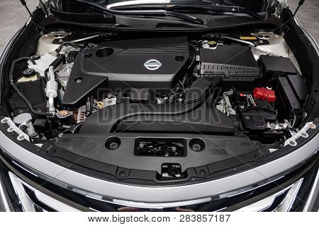 Novosibirsk, Russia - February 10, 2019:  Nissan Teana, Close-up Of The Engine, Front View. Photogra