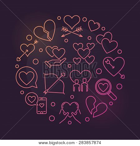 Lovesickness Vector Round Colorful Linear Illustration On Dark Background