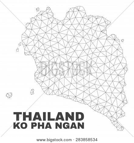 Abstract Ko Pha Ngan Map Isolated On A White Background. Triangular Mesh Model In Black Color Of Ko