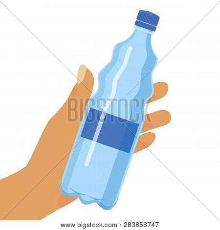 Water Bottle Background Vector Illustration. Hand Holding Plastic Bottle Of Pure Water Banner, Poste
