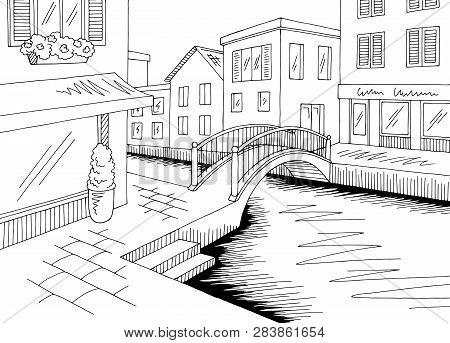 Old Street River Graphic Black White City Landscape Sketch Illustration Vector